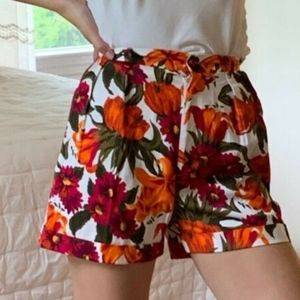 High Waist Floral Print Cotton Shorts
